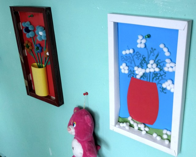 children's paintings made of cotton balls and pipe cleaners
