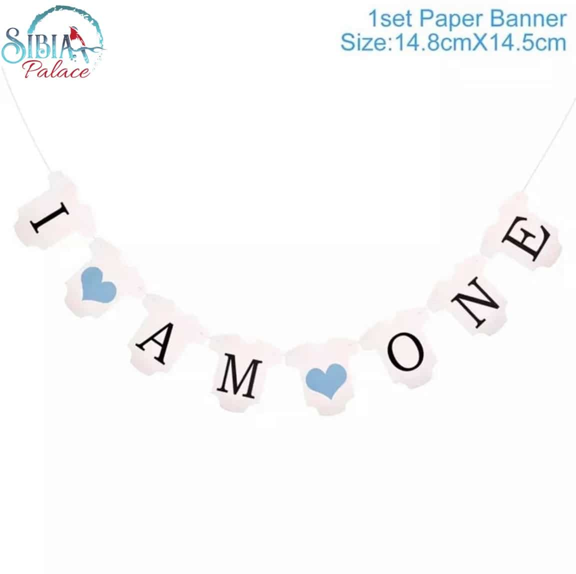 Sibia Palace I Am One Baby Boy Party Supplies Blue Banner