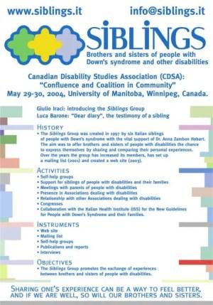 """Poster del Convegno """"Convergenza e Coesione nella Società"""" organizzato dal Canadian Disability Studies Association (CDSA), 29-30 maggio 2004, Università di Manitoba, Winnipeg, Canada."""