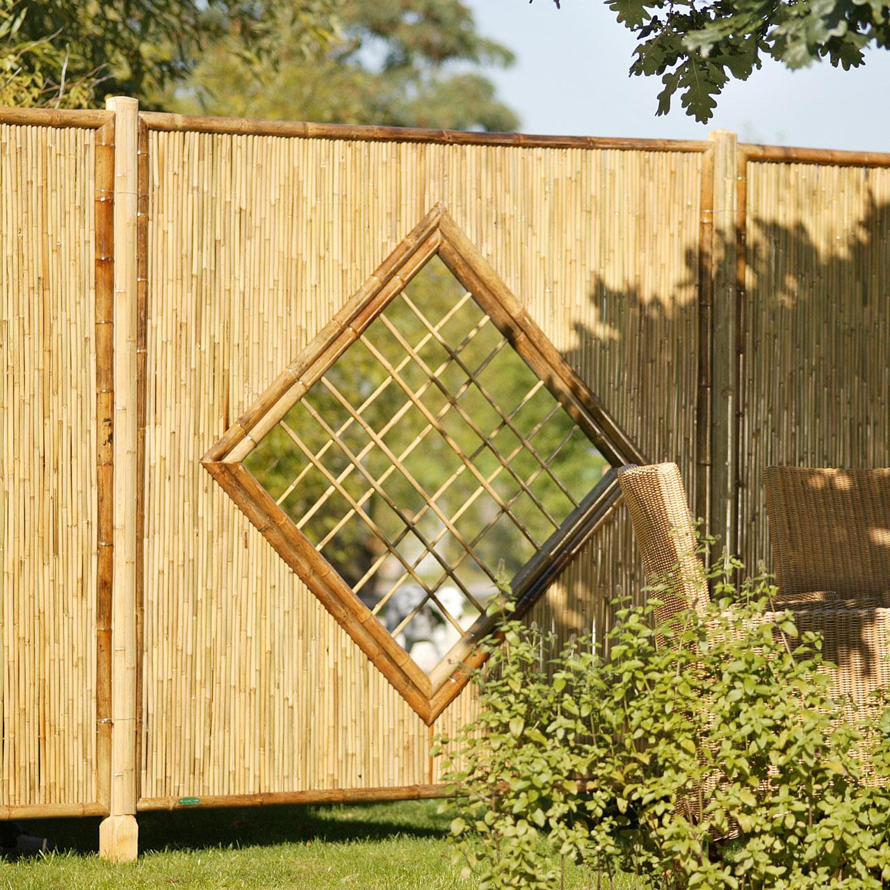 Sichtschutzwand Bambus Sichtschutzelement ZEN Raute