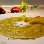 Creme der Kartoffelsuppe, Sellerie und Apfel
