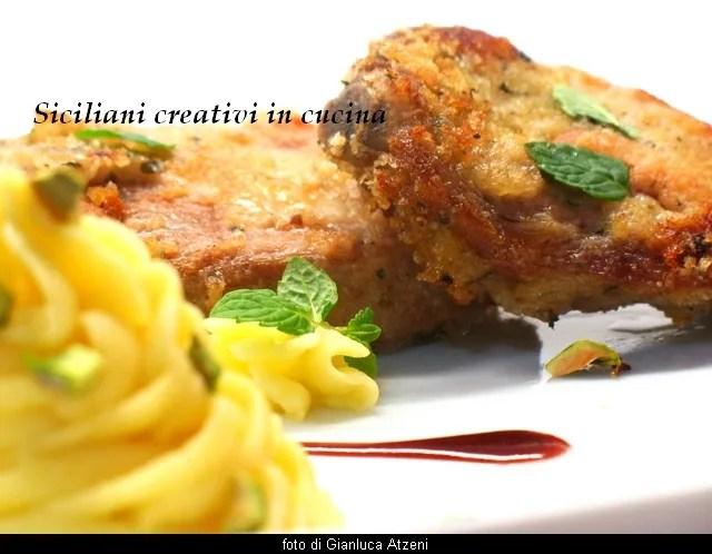 Agnello con pecorino e menta, purè di patate e riduzione di Porto