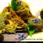 Artischocken mit lila Kartoffeln
