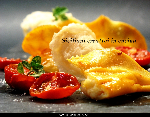 Parmesan ravioli with confit tomatoes