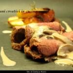 Rôti de boeuf avec pommes de terre et sauce aux champignons et sherry