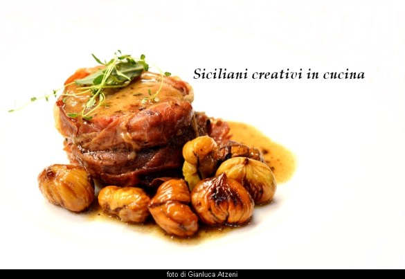 easy, Elegant and amazing taste the pork fillet in beer with chestnuts, wrapped in ham. Recipe must-see for lovers of pork