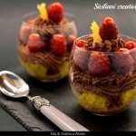 Chocolate mousse, Caramelized oranges and raspberries