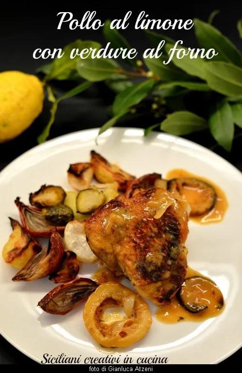 Poulet au citron avec des légumes cuits au four