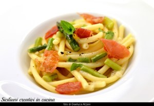 Bucatini cacio e pepe with asparagus and ham