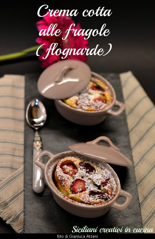 Cooked cream with strawberries (flognarde)