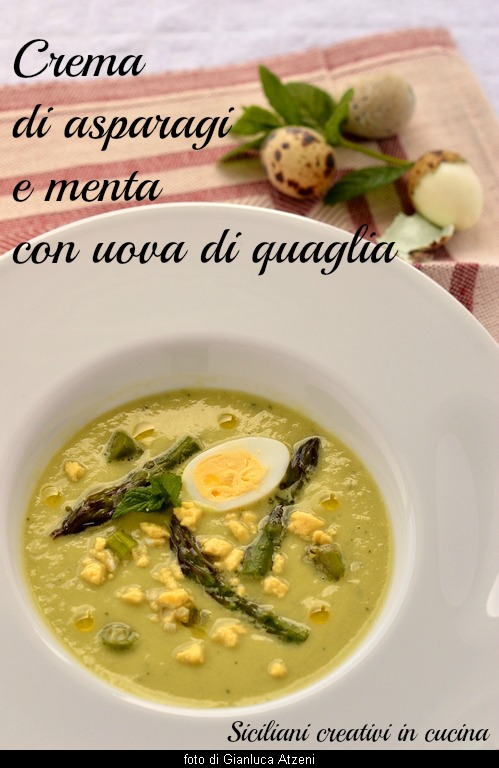 Cream of asparagus and mint with quail eggs, spring recipe.