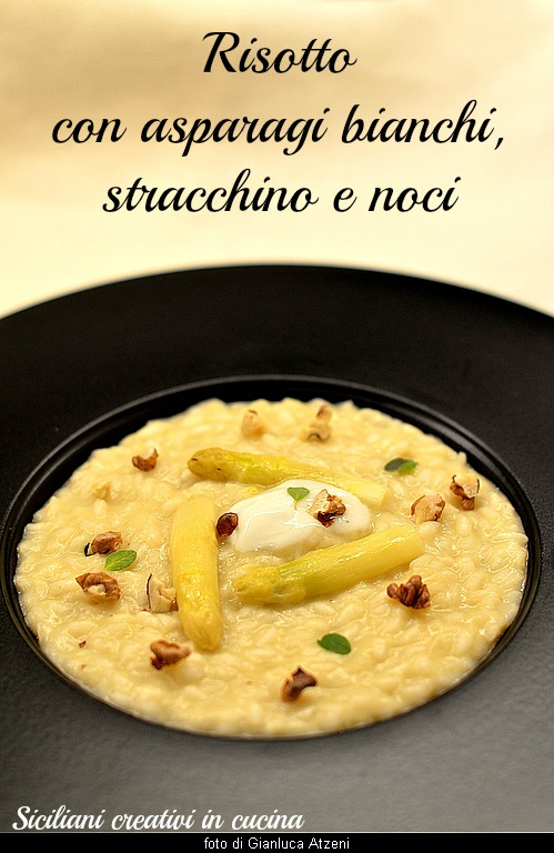 Risotto with white asparagus, cheese and walnuts: creamy and mild