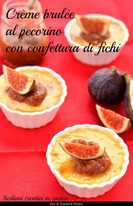 Crème brulée avec fromage de brebis avec confiture de figue
