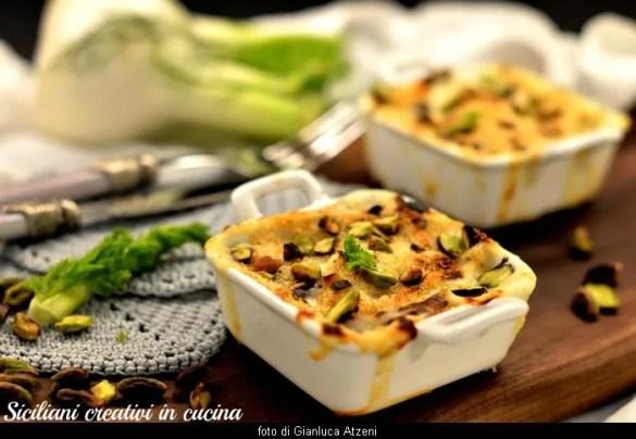 Finocchi gratinati al pistacchio