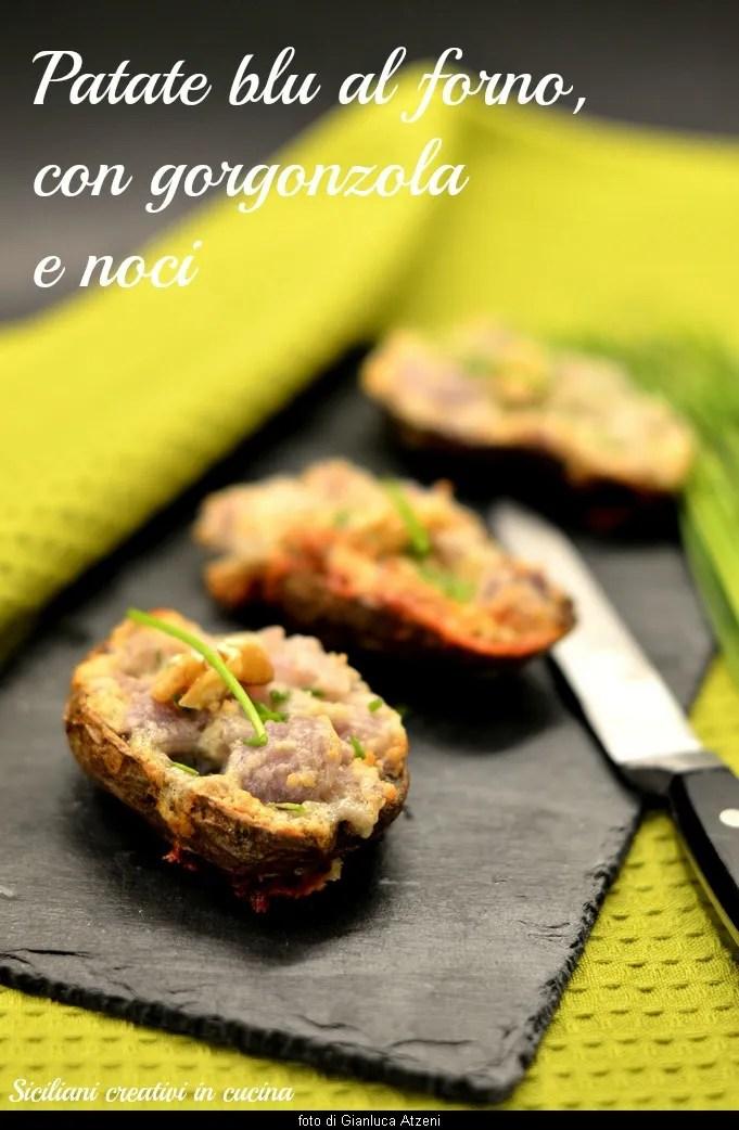 Potatoes stuffed with gorgonzola and walnuts
