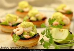 Shrimps-Salat, Green Apple und mayonnaise