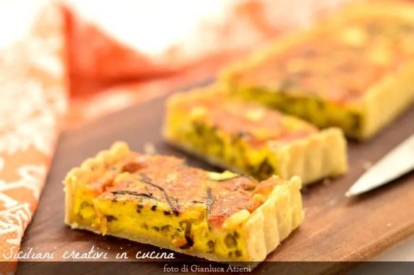 Torta salata agli asparagi selvatici e zafferano