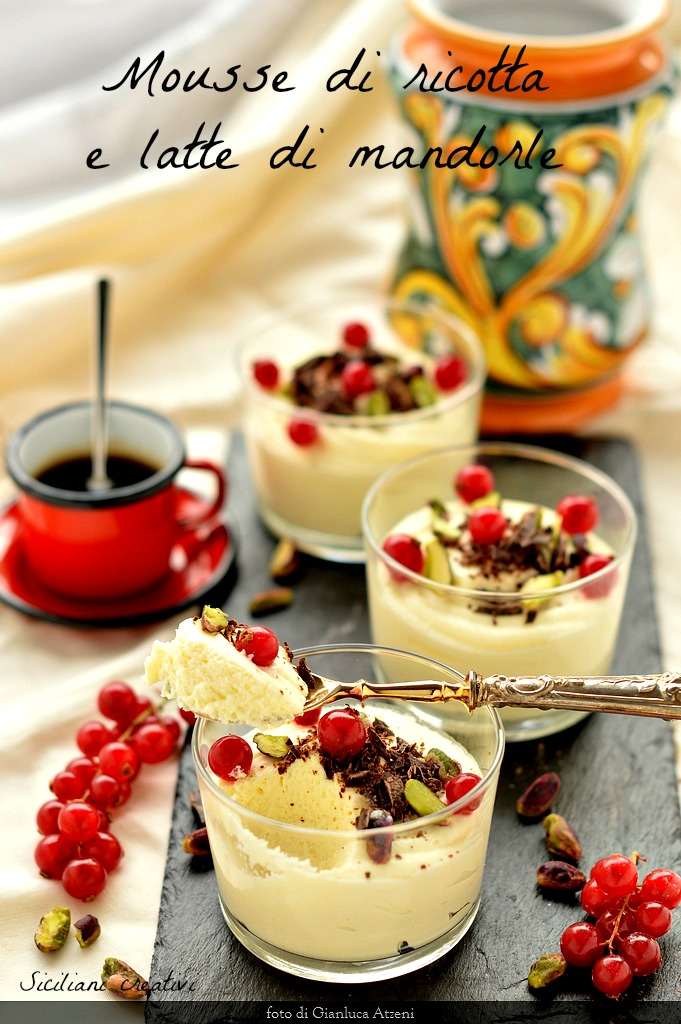 Mousse of ricotta and almond milk: a sweet delicate spoonful of Sicilian inspiration.