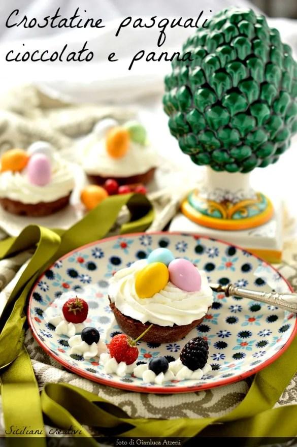 Chocolate and cream tarts