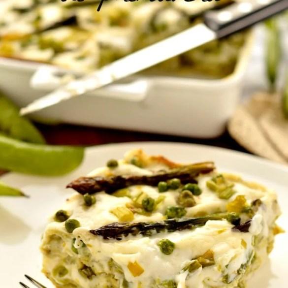 Lasagne bianche con asparagi, fave e piselli