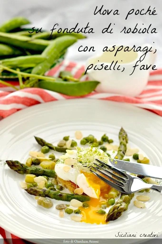 アスパラガスと春野菜のポーチドエッグ