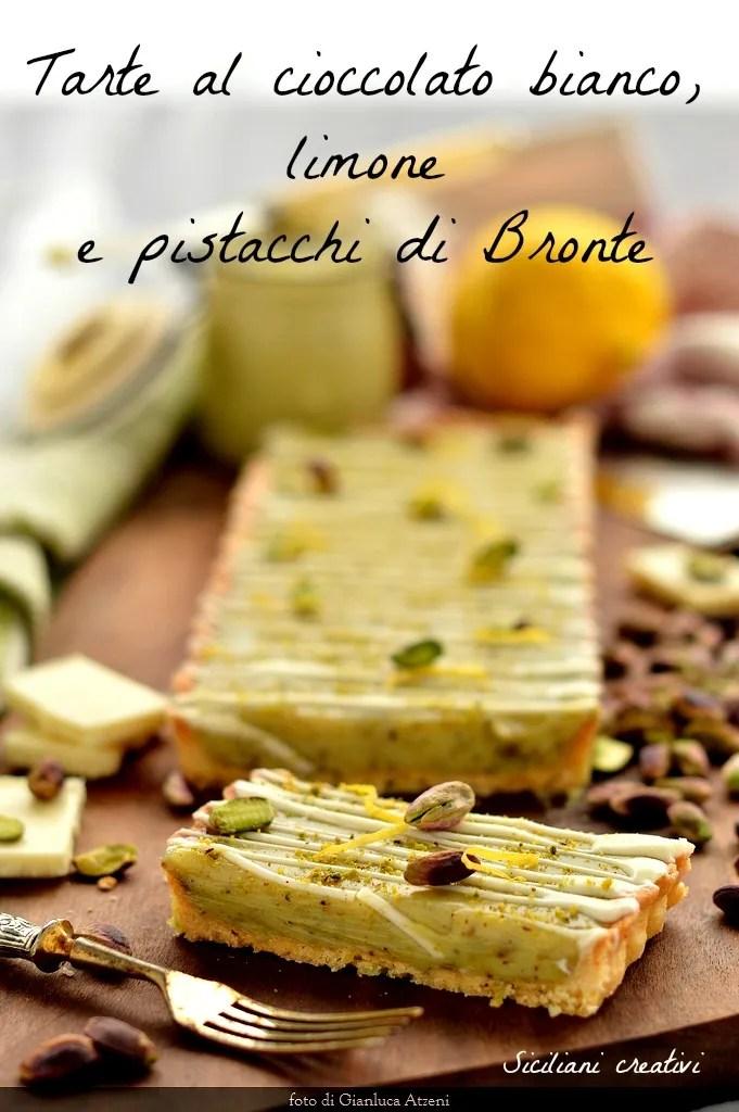 Tarte au citron au chocolat blanc et à la pistache