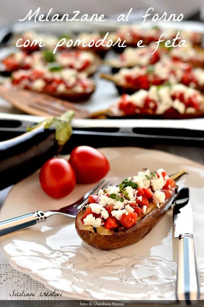 Fırında patlıcan domates ve beyaz peynir ile