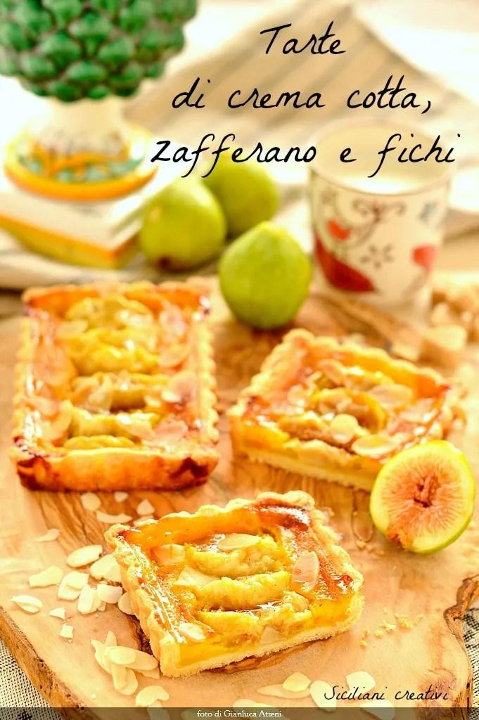 Higos y tartas de crema de azafrán