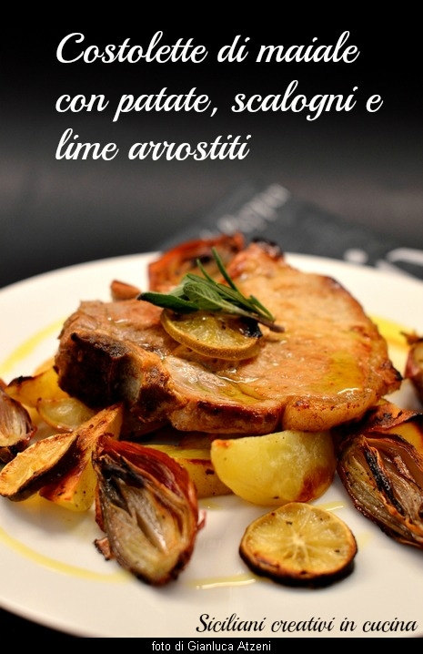 Costolette di maiale in padella con patate, scalogni e lime arrostiti