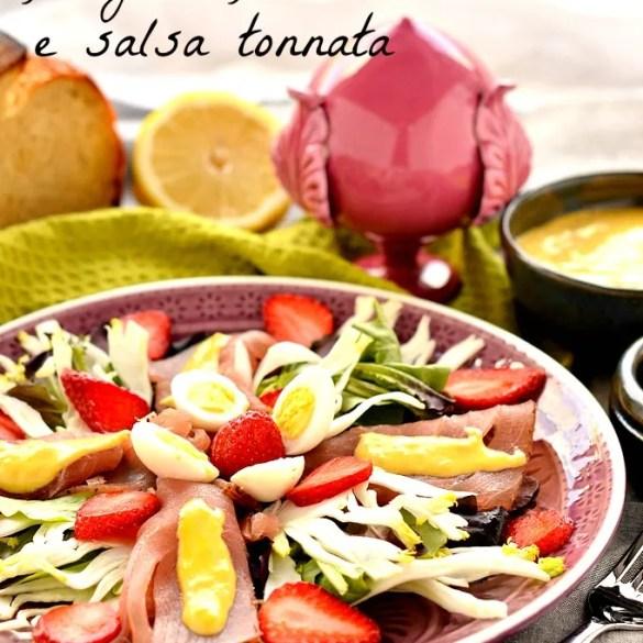 Insalata di bresaola di tonno, finocchi, fragole e salsa tonnata