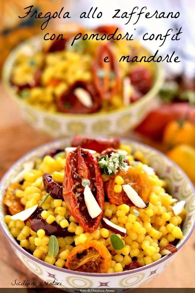 Fregula avec safran, tomates confites et amandes
