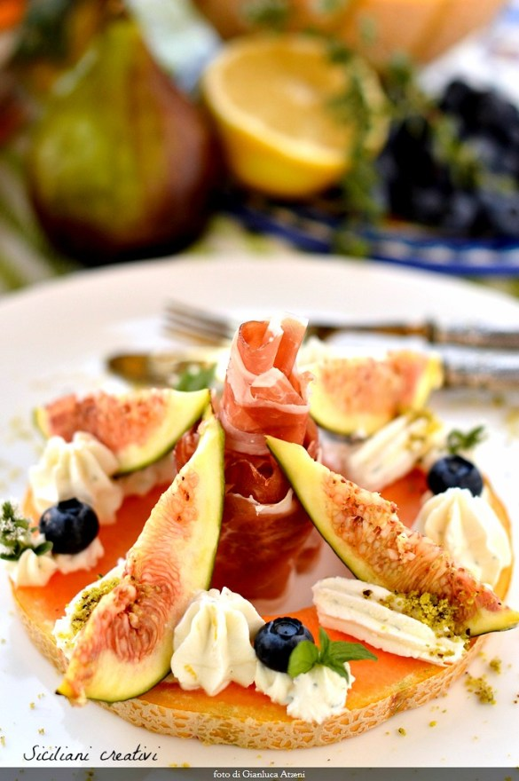 Ham, melon and figs