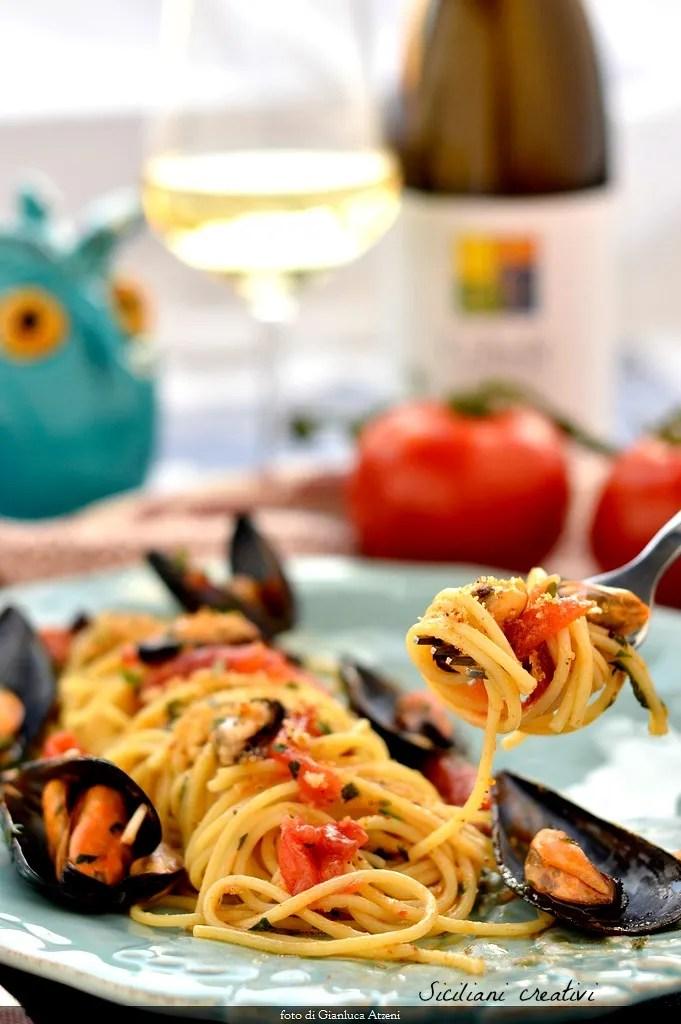 Spaghetti mit Muscheln sizilianischen