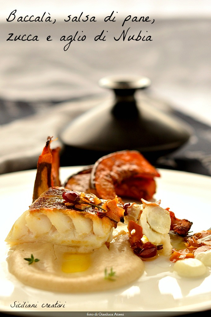 Cod with garlic, olive oil and chilli on bread sauce, pumpkin and garlic of Nubia
