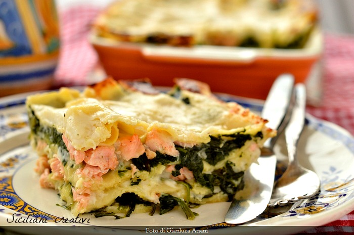 Lasagne with salmon and spinach with white sauce with ginger