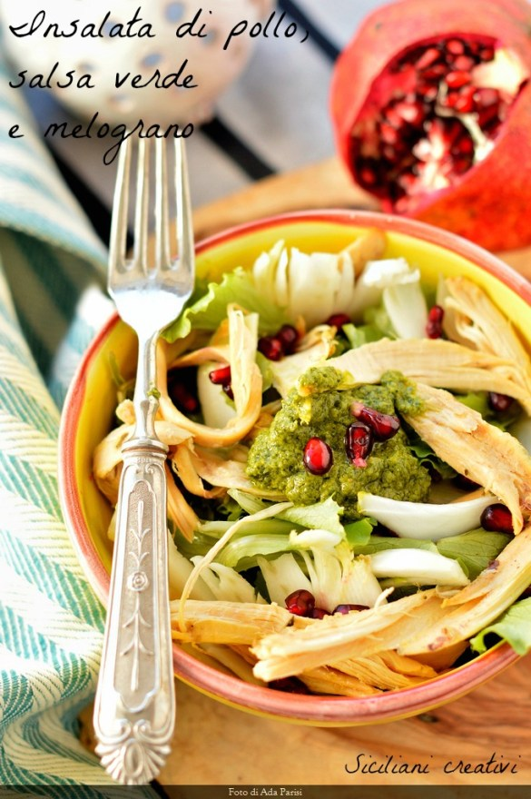 Chicken Salad, green sauce and pomegranate