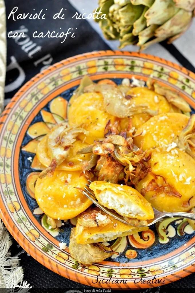 raviolis ricotta aux artichauts et au safran
