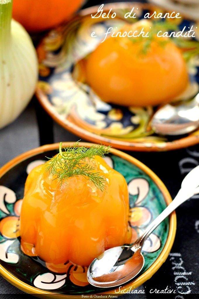 Orange jelly, a classic Sicilian dessert, with the extra touch of candied fennel. easy Recipe.
