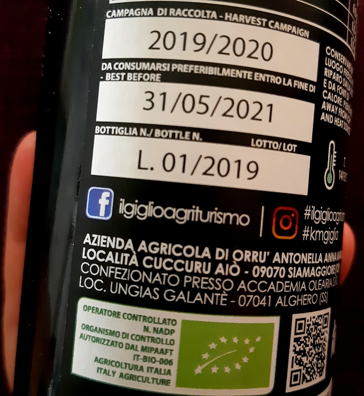 Olive oil: we learn to read the label. The expiration date