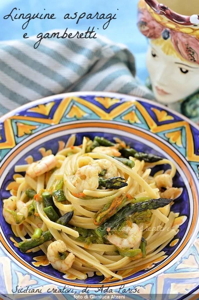 Linguine asparagus and prawns, Easy and delicious recipe