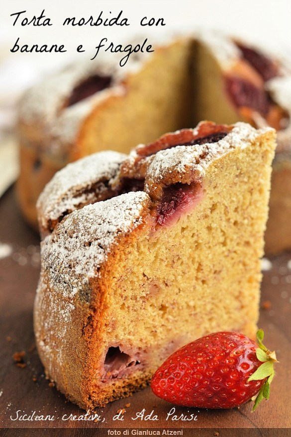 Soft cake with bananas and strawberries, soft and fragrant. easy Recipe
