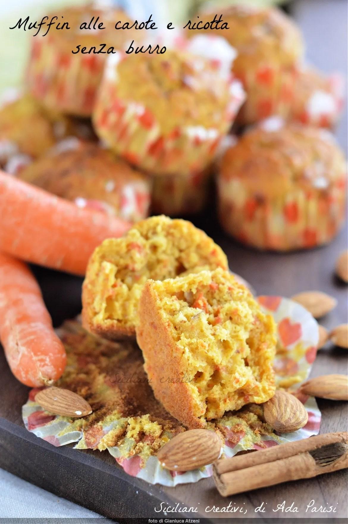 Muffin carote e ricotta, pas de beurre