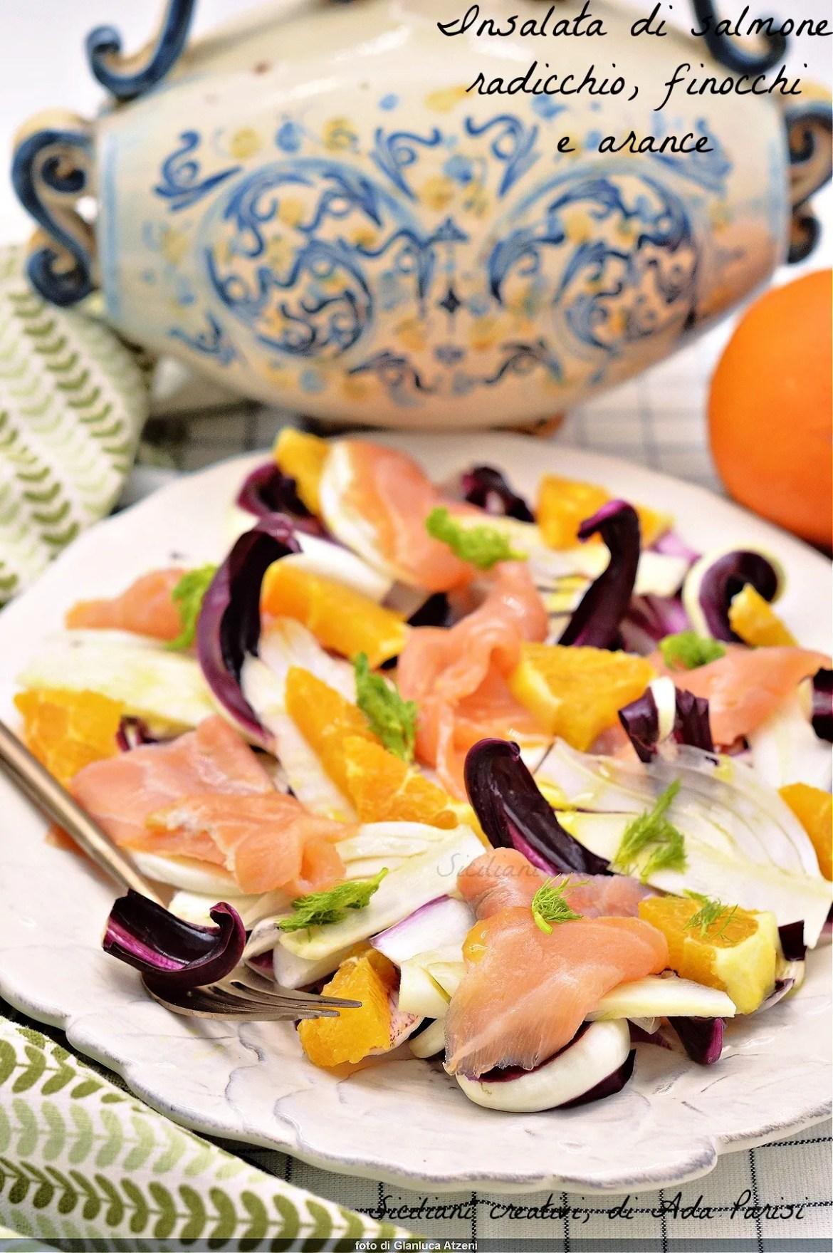 Insalata detox di salmone con finocchi arance e radicchio
