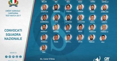 Rugby. I convocati di O'Shea per le amichevoli contro Fiji, Argentina e Sudafrica