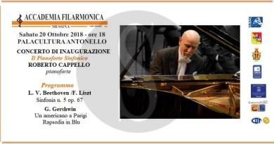 Musica. Roberto Cappello inaugura il cartellone dell'Accademia Filarmonica e dell'associazione Vincenzo Bellini di Messina