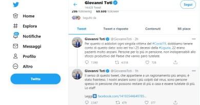 Coronavirus e reminiscenze naziste, bufera sul presidente della Liguria che definisce improduttivi gli anziani