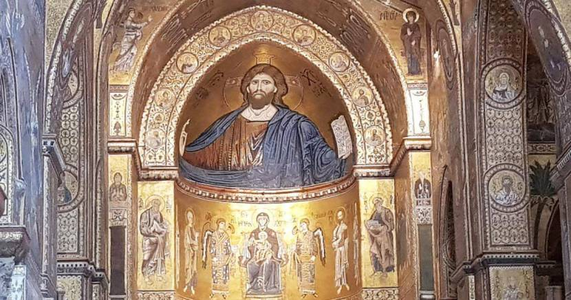 Monreale is the main attraction outside Palermo, the interior is built on a basilica plan with a nave and two side-aisles separated by columns..