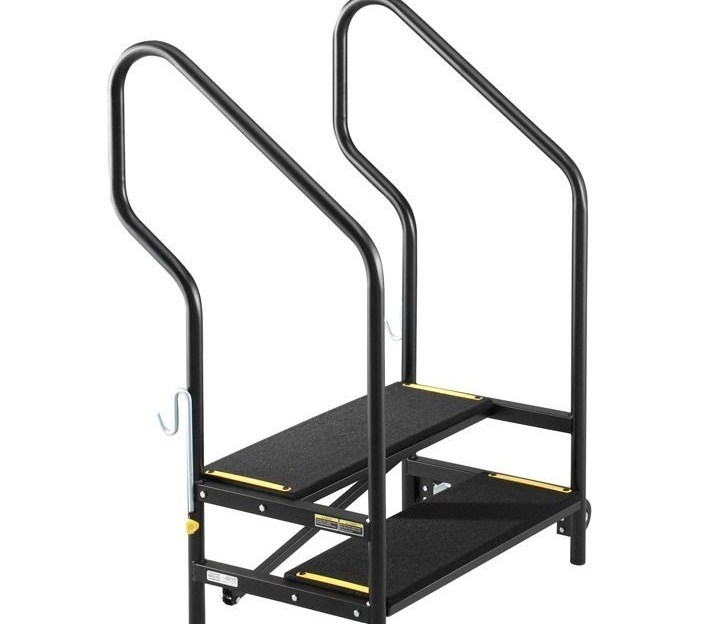 Stage Steps Sico   Portable Steps With Handrail   3 Step   Free Standing   Camper   Stair   Safety Step Ladder 4 Step