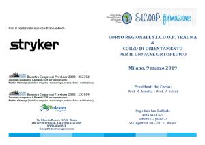 09 MAR | CORSO REGIONALE S.I.C.O.O.P. TRAUMA & CORSO DI ORIENTAMENTO PER IL GIOVANE ORTOPEDICO