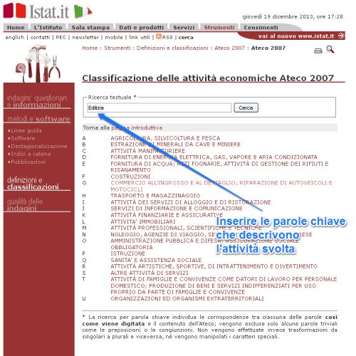 ricerca codice ateco 2007